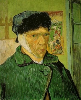 "post impressionism the great history of art vincent van gogh s ""self portrait bandaged ear"" 1889 is an oil on canvas that depicts an emotional and yet endearing composition through the sombre"