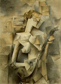 "cubism the great history of art pablo picasso s ""the w playing the mandolin"" 1910 is an oil on canvas that depicts a typical analytical cubistic composition through the reinforcement"